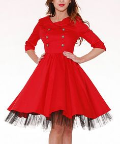 Look what I found on #zulily! Black & Red Double-Breasted Swing Dress - Women & Plus #zulilyfinds
