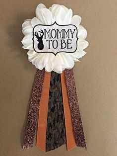 Camo Oh Deer Baby Shower Mommy-to-be Flower Ribbon Pin by afalasca