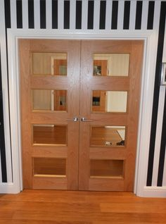 Bespoke Internal Oak Double Door. Clear Lacquered Finish And Clear Glass  #bespokedoors Timber Door