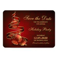 Elegant Holiday Party Invitations Save The Date. Matching invitations and RSVP cards are available here: http://www.christmas-party-invitations.com