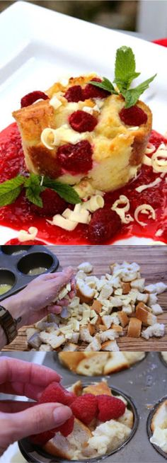 White Chocolate and Raspberry Bread Pudding Dessert Recipes - bread, chocolate, dessert, puddinf, recipes