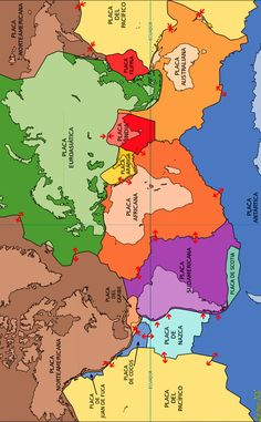 The 15 major tectonic plates of the world. In Spanish.