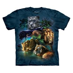 NEW THE MOUNTAIN BIG JUNGLE CATS WILD ANIMAL LION TIGER ADULT T SHIRT SIZE LARGE | eBay