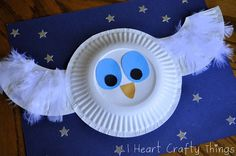 Paper Plate Owl craft to follow up The Little White Owl by Tracey Corderoy and Jane Chapman