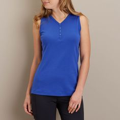 """Women's Longtail T® Henley Tank Tops are an extra 2"""" long and long on extras! 100% cotton fabric won't stretch or sag, and has UPF 35 built right in!"""