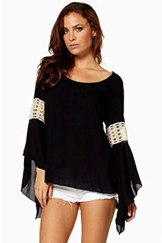 6383f27fd1901e Elan Long Sleeve top with Ivory Crochet in Black - Boutique To You