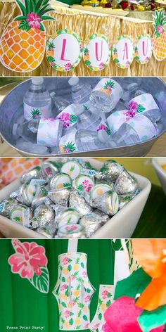 Loads of DIY Pineapple birthday party ideas and fun. Lots of ideas for your luau or pineapple party. How do you party like a pineapple? Aloha Party, Luau Theme Party, Hawaiian Party Decorations, Birthday Party Snacks, Hawaiian Luau Party, 13th Birthday Parties, Luau Birthday, Festa Party, Birthday Party Decorations