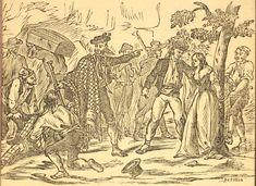 Xilografía alusiva en cabecera de varios hombres armados, uno de ellos ata a una mujer a un árbol y otro lleva un baúl.