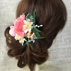 Peach wedding flower hair clip coral hair by HollyHoopsArt on Etsy