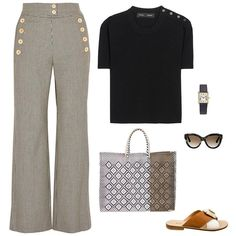 Chloe houndstooth wool-blend flared pants, Proenza Schouler stretch crop top, Valentino  sunglasses, Sofia Capri Via Cesina in brown and white, Truss large tote bag