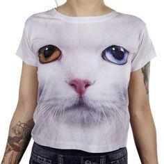 Valkoinen Kissa T-paita | Cybershop