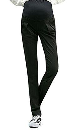 87b4c812729d0 MIAMAMA Womens Maternity Stylish High Elastic Waist Comfortable Capris Pants  Black Pants Small >>