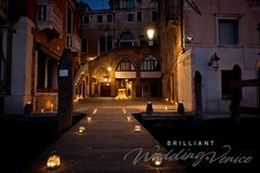 Romantic wedding proposal in venice, candles and violin