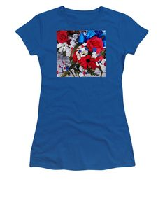 Patriotic Style And Colors Women's T-Shirt (Junior Cut) featuring the photograph Independence Day Flowers by Tiana Art
