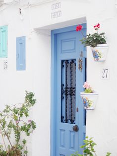 Pretty blue door in village of Frigiliana Spain, travel, holiday