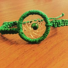 Dream Catcher Bracelet Green made adjustable Hemp by KnotTreasures