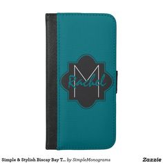 Simple & Stylish Biscay Bay Teal & Black Monogram