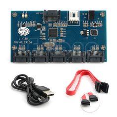Adapter Card SATA 1 to 5 Port Converter (SATA Port Multiplier) Riser card Hub Drop shipping #women, #men, #hats, #watches, #belts, #fashion, #style