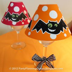 Free Printable Halloween Wineglass Lampshade with matching treat bags, banners, invitations and cupcake toppers