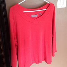 Cute comfy top plus size Orange, never worn but does not have tags, three quarter sleeves Liz Claiborne Tops