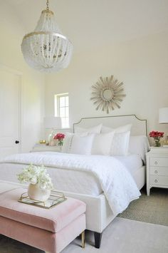 Beautiful white guest bedroom starburst mirror beaded chandelier Bright and beautiful bedroom White Bedroom, Master Bedroom, Bedroom Bed, Bed Room, Airy Bedroom, Bedroom Furniture, Bedroom Decor, Bedroom Ideas, Bedroom Themes