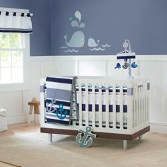 Color idea for nursery. Nautical Sailing with Whales and Anchors Baby Boys 3 Pc Nursery Crib Bedding Set Nautical Crib Bedding, Baby Crib Bedding Sets, Nautical Nursery, Baby Bedroom, Baby Boy Rooms, Baby Boy Nurseries, Baby Cribs, Baby Boys, Nautical Theme