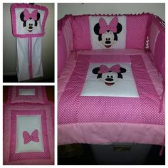 Minnie mouse hand made applique and cot set.  Cot quilt Cot bumper Bassinet quilt Nappy stacker  Past custom order design but re orderable .