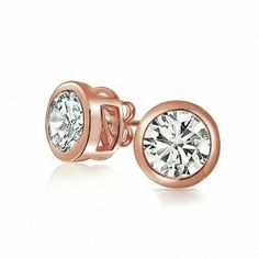 Rose Gold Plated Stud Earrings Bezel Set CZ 925 Silver