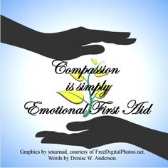 Compassion is simply the ability to provide emotional first aid to those that are hurting.