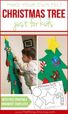 Do your toddlers have a hard time leaving your Christmas tree alone? Try giving your kids their very own (unbreakable) felt Christmas tree to decorate over and over again this Christmas season! Free printable templates & instructions below.
