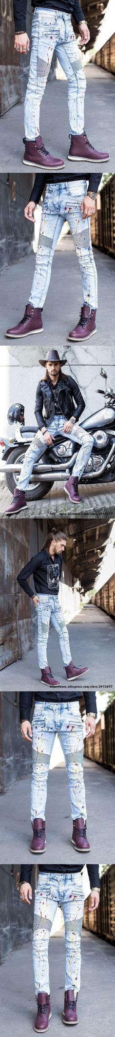 2017 new High Quality Design Fashion Men's Classic Jeans Straight Full Length Casual Jeans Men Hip Hop Biker Jeans Slim Skinny J