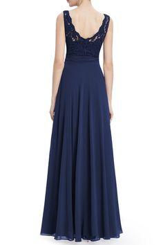 Lace Crochet Maxi Evening Dress - DEEP BLUE M