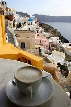 Cappuccino in Santorini, Greece.>>> I am always trying to find the perfect Cappuccino when I travel. Where have you had the best cup of coffee? Mykonos, Santorini Island, The Places Youll Go, Places To See, Café Chocolate, Coffee Cafe, Cappuccino Coffee, Drink Coffee, Latte
