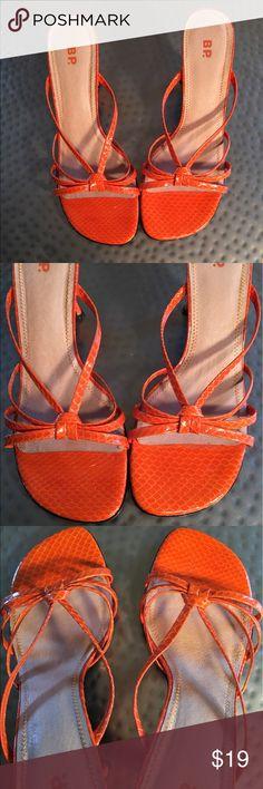 BP Orange Slip Ons Barely worn. Leather. Heel approx 31/2in. BP Shoes Sandals