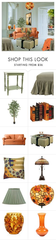 """""""Orange and Olive Decor"""" by terry-tlc ❤ liked on Polyvore featuring interior, interiors, interior design, home, home decor, interior decorating, Arteriors, Nearly Natural, Coaster and Quoizel"""