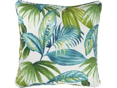 A tropical palm print in shades of green and blue gives the Signature Design by Ashley Matat Decorative Pillow a refreshing pop. This throw pillow is. Tropical Pattern, Tropical Vibes, Exotic Plants, Signature Design, Industrial Furniture, Shades Of Blue, Floral Design, Tapestry, Curtains