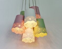 Pastel Lace Chandelier Lighting Fixture Upcycled by BootsNGus