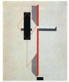 [제목:Proun]  [작가:El Lissitzky] [연도:1922] [사조:구성주의]:::작품선정이유: 수직과 수평 그리고 사선으로만 이루어진 구성이 매력있으며, 특징적이게 빛나는  선을 강조한다면 개성있는 작품이 될 것 같다, 다만 이 작품은 위에서 보았을 때 사각형 굵기의 대비감이 떨어지므로 측면에서 주부종의 대비를 공략하도록 한다.