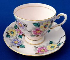 Art Deco Teacup And Saucer Hand Painted Enamel On Transfer Pale Pink England