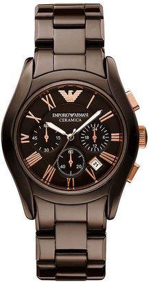 Emporio Armani Watch, Women's Chronograph Brown Ceramic Bracelet