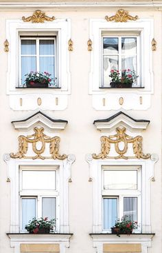 Gorgeous golden windows in Prague.