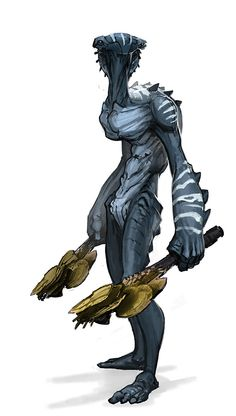 I really like this image, it says to me an aquatic alien with fungal looking clubs. This guy could easily be a smash bros. character already, given some armour and a cool name.