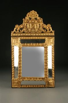 19th Century French mirror with repoussed brass frame, circa 1860. #antique #mirror
