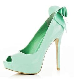 Mint Green Stiletto Heels Peep Toe Platform Pumps with Bow image 1 - Trouw sofie en Vincent - Mint Zapatos Peep Toe, Peep Toe Shoes, Peep Toe Platform, Flat Shoes, Bow Shoes, Shoes Heels, Mint Green Heels, Green Shoes, Crystals