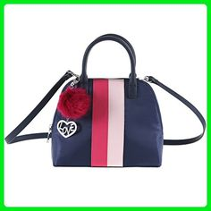 1f3d9fd734 The Lovely Tote Co. Color Stripes Nylon Bowler with Fur Pom Charm