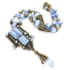 VINTAGE-ART-DECO-NEIGER-CZECH-MOONGLOW-BLUE-GLASS-BEAD-DROP-NECKLACE