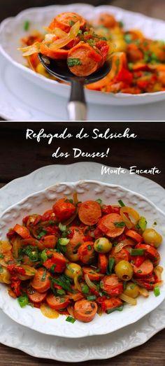 Este Refogado de Salsicha dos Deuses, leva alho e cebola, tomate natural, orégano e um toque do vinagre, que faz a diferença e surpreende o paladar!