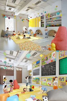 This just looks fun and engaging. Notice the arches in the wall where kids can hide. Architecture and interior design projects in India - Aaditya international - Kindergarten - Meghana Kulkarni - Pune Kindergarten Interior, Kindergarten Design, Playground Design, Learning Spaces, Kid Spaces, School Design, Daycare Design, Education, Kids