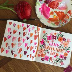 "Carolyn Gavin auf Instagram: ""Spreading the love. #watercolor #sketchbook #paint…"