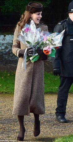 The Duchess of Cambridge arriving for Christmas morning services at St. Mary Magdalene, located on the grounds of the Sandringham estate in Norfolk. 2014